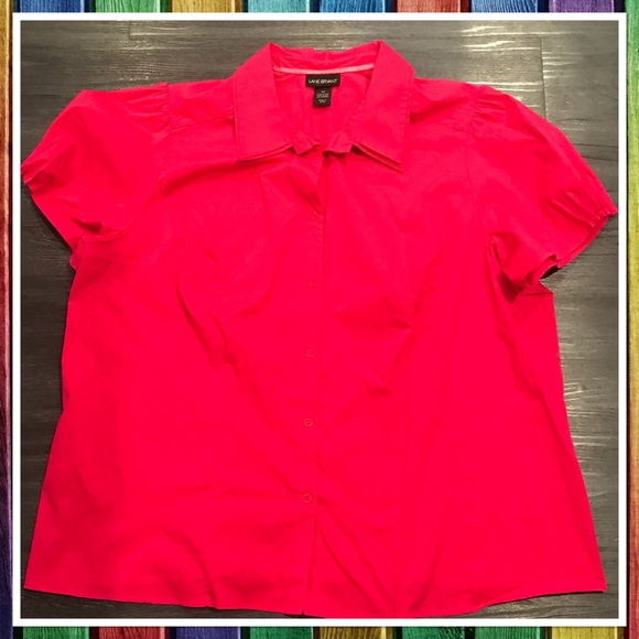 a0bcb4db Lane Bryant Tops | Lb Pink Stretch Short Sleeve Buttondown | Poshmark